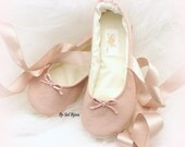 Rose Blush Wedding Ballet Shoes Faux Leather Lace Up Ballet Slippers Flats Custom Order