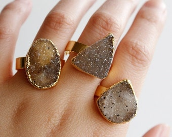 50% OFF Gold Organic Shape Agate Druzy Gemstone Rings - One of a Kind - Statement Rings, Spring Fashion