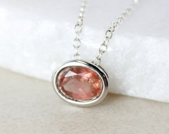 40 OFF SALE Champagne Pink Tourmaline Necklace - Oval - 925 Sterling Silver