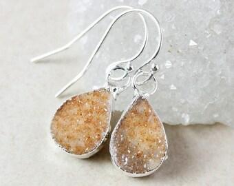 50 OFF SALE Silver Teardrop Druzy Dangle Earrings - Choose Your Druzy