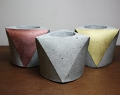 set of 3 Concrete mini planters - Gray Cement
