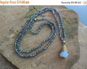 40% off Sale Reserved for Jodi Blue Iridescent Czech Beaded , Hand Knotted Brass Quartz Drop Necklace, Boho Chic Layering Necklace, Celebrit