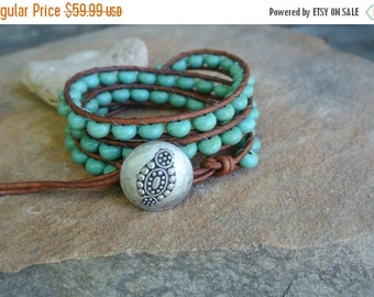 Summer Sale Tahla Turquoise Beaded Leather Wrap Bracelet