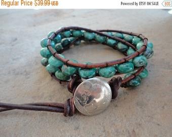 30% OFF SALE Bisa Gutsu Turquoise Beaded Leather Wrap Bracelet