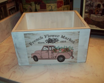 French Flower Market storage box,French Farmhouse,Paris decor,French rustic,French wedding decor,shabby chic decor,French decor