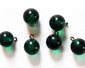 Vintage Glass Marble Bead 6 Pendants 9mm Emerald Green