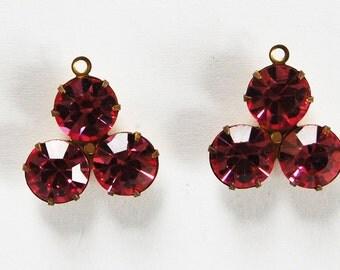 Triple Rhinestone Pendant Beads 18mm Swarovski Rose Pink
