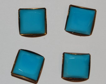 Vintage Glass Buttons 4 Turquoise Blue Square Buttons Brass Settings 12mm