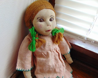 Vintage Sweet Primitive Hand Made Cloth Doll Home Spun Dress Yarn Hair Anne of Green Gables
