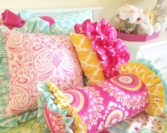Yellow Fulton and Hot Pink Dot Front Ruffle Accent Pillow