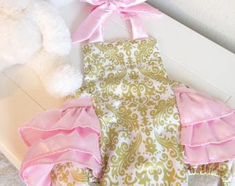 Glitz Gold Damask and Baby Pink Romper for Baby Girls, In Stock and Ready to Ship