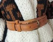 vintage saddle stitched leather belt. 1970's country / western work belt, 36 / 38.