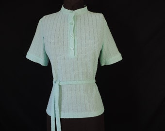 popcorn knit sweater vintage 60s does 40s knit short-sleeve tunic top large