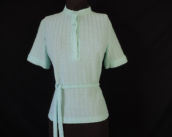 vintage popcorn knit sweater 60s does 40s knit short-sleeve tunic top large