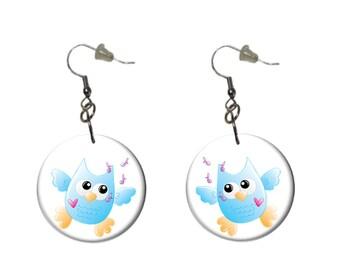 Owl Earrings Casual Fun Aqua Happy Owl Earrings Dangle Earrings