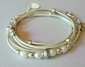 Reserved For Liz - 4 Fresh Water Pearl Leather Triple Wrap Bracelet - Bohemian Leather Wrap Antique & Silver Accents - Pick Color  USA 002