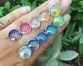 Mermaid Earrings, SALE, Stud Earrings, Scale Earrings, Dragon Scales, Flatback, Ocean, Beach, Rainbow, Costume, Post Earrings, Rainbow BOGO