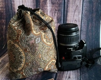 DSLR Camera, Travel COZY, Camera Pouch, Brown Paisley, Camera Gear