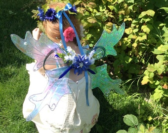 Fairy Wings costume wings,blues and iridescent with flowers and tie ribbons