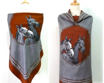 Vintage Silk Scarf ERRE Equestrian Horse Print Hand Rolled