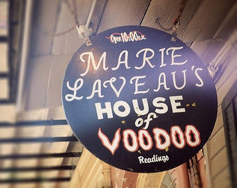 "New Orleans ""Marie Laveau House of Voodoo"" Shop Sign Photograph. French Quarter Print. Creole, Mardi Gras, Wall Art, Home Decor."