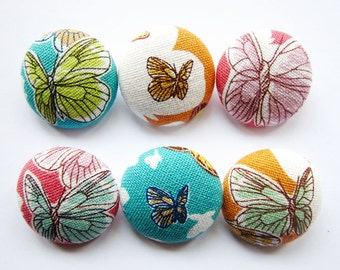 Sewing Buttons / Fabric Buttons - Butterflies - 6 Large Fabric Buttons