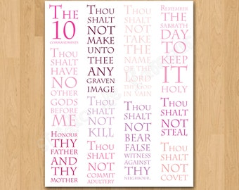 """Pink Wall Art Printable """"10 Commandments"""" 8x10 Print Instant Download"""