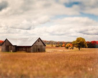Barn Photography - Fall Leaves | Michigan | Autumn Wall Art Print | rustic home decor | crimson, orange, gold | Traverse City | Michigan Art