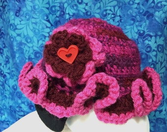 Adorable Fun and Colorful Crochet Hat with Ruffled Rim and Flower