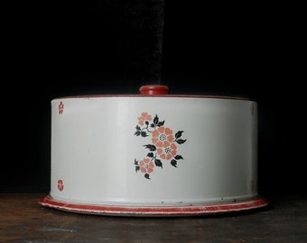 Vintage Cake Tin, Cake Carrier, Cake Plate, Cake Stand, Cake Cover, Pie Plate, Primitive Kitchen, Rustic Kitchen, Red Poppies