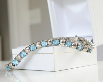 Sterling Silver 925 Genuine 10ct Blue Topaz Gemstone Tennis Line Bracelet