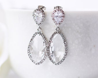 Cubic Zirconia Clear Glass Silver Wedding Earrings LUX Teardrop Modern Statement