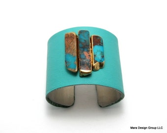 "leather cuff bracelet  - turquoise leather with jasper - 2"" wide"