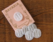 6 tiny vintage monogram M embroidered woven initial tag label antique personalise hand crafter supply