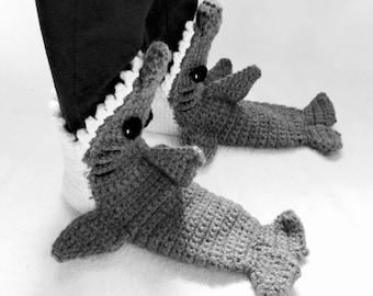Womens Crochet Shark Slipper Socks - Mens Crochet Shark Slipper Socks - Christmas Gift - Gift For Her - Crochet Shark Slippers - Shark Socks