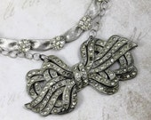 RESERVED FOR MISS L.....Art Deco Bridal Necklace, MultiStrand Silver Necklace, Paste Art Deco Bow Brooch, Vintage Trifari