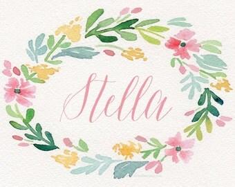 Custom Printed Watercolor Wreath Bassinet Name Card