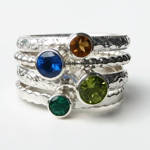 Mothers Ring- 4 Birthstone Stacking Rings - Family Ring - Stackable Rings - Faceted Gemstone Rings - Birthstone Rings - Sterling Silver