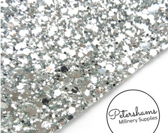 Chunky Glitter Fabric A4 Sheet (21x30cm) for Millinery, Fascinators & Crafts - Silver