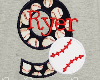 Baseball Birthday Shirt, Baseball Number Shirt, Boys Baseball Birthday Shirt, Ages 1-9, Custom Colors