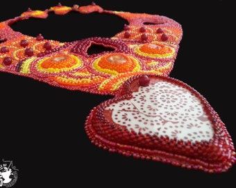 Red, orange and yellow bead embroidery necklace - Hearts for Summer Sunsets - BOTB15