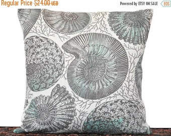 Christmas in July Sale Seashells Pillow Cover Cushion Nautilus Sea Coral Coastal Beach Summer Beige Turquoise Gray Decorative Repurposed 16x