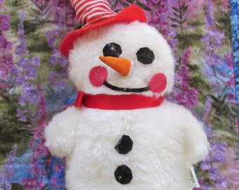 Cute Little Vintage Snowman Stuffed Animal by California Stuffed Toys