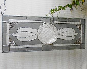Depression Glass Stained Glass Panel, Antique Window Valance, Stained Glass Window Transom, Vintage Glass Home Decor, OOAK Original Art