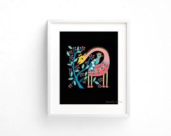 Folk Art Giraffe - Giclee of an original illustration (8 x 10in)