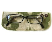 Burlap Reading Eyeglass Case. Green Ikat Print. Coconut Buttons. Handmade in Hawaii.