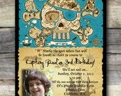 DIGITAL BOY  PHOTO Pirate Map Birthday Invitation -  Digital Girl Photo Pirate Map Birthday Invitation
