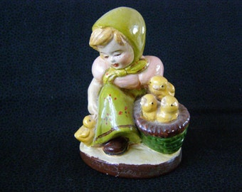 Girl With Ducks Antique Figurine