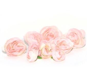 10  Peach Pink Baby Ranunculus - Artificial Flowers, Silk Flowers