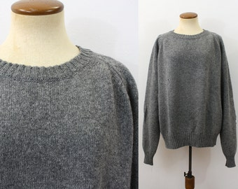 Moth Eaten Sweater Slouchy Boyfriend Pullover WOOL Gray Crewneck Jumper 80s Vintage Knit 1980s Mens Oversize Men's Slouch Holes Large XL